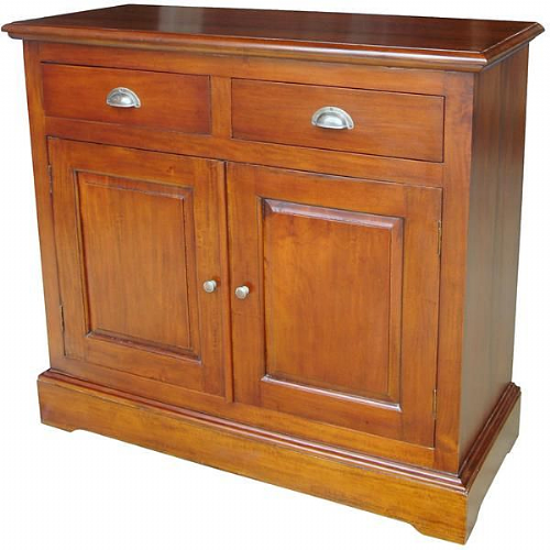 Sideboard with Two Drawers and Two Doors in Mahogany